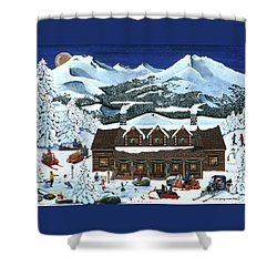 Snowmobile Holiday Shower Curtain