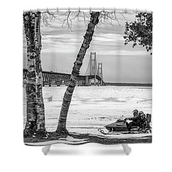 Shower Curtain featuring the photograph Snowmobile Michigan Black And White  by John McGraw