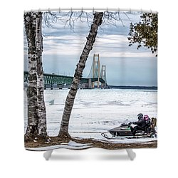 Shower Curtain featuring the photograph Snowmobile Michigan  by John McGraw