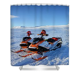 Snowmobiles In Iceland In Winter Shower Curtain by Matthias Hauser