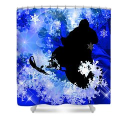 Snowmobiling In The Avalanche  Shower Curtain by Elaine Plesser