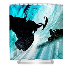 Snowmobiling On Icy Trails Shower Curtain by Elaine Plesser