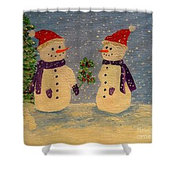 Snow-people At Christmas Shower Curtain