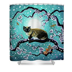 Snowshoe Cat And Dragonfly In Sakura Shower Curtain