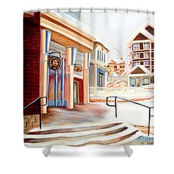 Snowshoe Village Shops Shower Curtain
