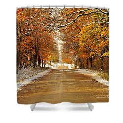 Snowy Autumn Morning In Pure Michigan Shower Curtain