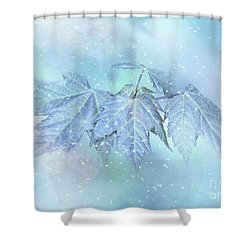 Snowy Baby Leaves Shower Curtain