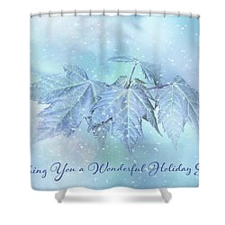 Snowy Baby Leaves Winter Holiday Card Shower Curtain