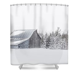 Snowy Barn Shower Curtain