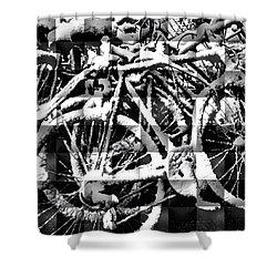 Snowy Bike Shower Curtain by Joan Reese