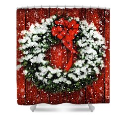Snowy Christmas Wreath Shower Curtain by Lois Bryan