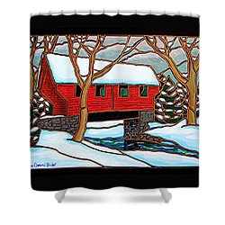 Snowy Covered Bridge Shower Curtain