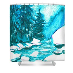Shower Curtain featuring the mixed media Snowy Creek Banks by Seth Weaver