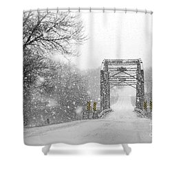 Snowy Day And One Lane Bridge Shower Curtain by Kathy M Krause