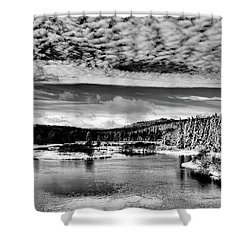 Snowy Day At The Green Bridge Shower Curtain by David Patterson