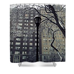 Snowy Day In New York Shower Curtain by Leah Mihuc