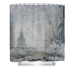 Snowy Day - Market Street Saint Louis Shower Curtain