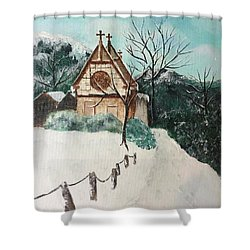 Shower Curtain featuring the painting Snowy Daze by Denise Tomasura