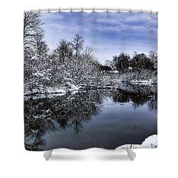 Snowy Ellicott Creek Shower Curtain