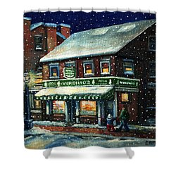 Snowy Evening In Gloucester, Ma Shower Curtain