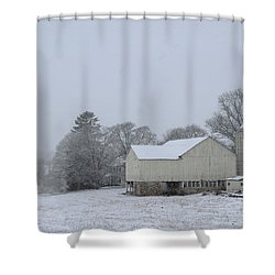 Winter White Farm Shower Curtain