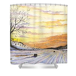 Shower Curtain featuring the digital art Snowy Farm by Darren Cannell