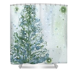 Shower Curtain featuring the painting Snowy Fir Tree by Dawn Derman