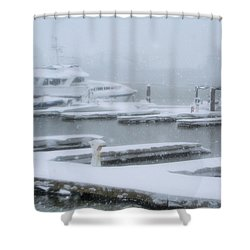 Snowy Harbor Shower Curtain by Ania M Milo
