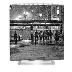 Snowy Harvard Square Night- Harvard T Station Black And White Shower Curtain
