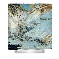 Snowy Landscape Shower Curtain by Gustave Courbet