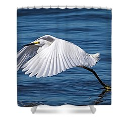 Snowy Liftoff Shower Curtain