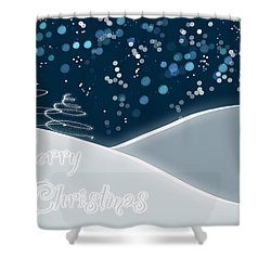 Snowy Night Christmas Card Shower Curtain