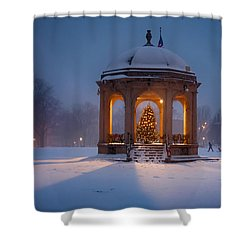 Snowy Night On The Salem Common Shower Curtain