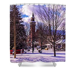 Snowy Old Town Hall Shower Curtain