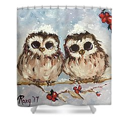 Snowy Owl Chicks In A Holly Tree Shower Curtain
