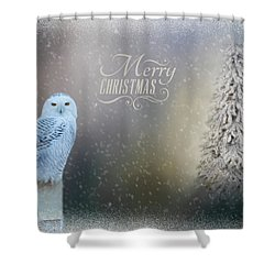 Snowy Owl Christmas Greeting Shower Curtain