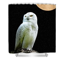 Shower Curtain featuring the photograph Snowy Owl Under The Moon by Scott Carruthers