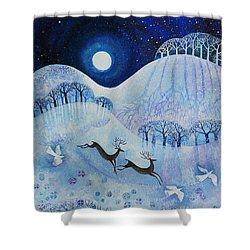 Snowy Peace Shower Curtain by Lisa Graa Jensen
