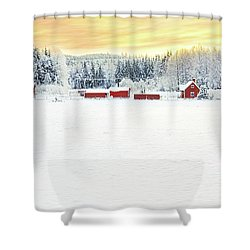 Snowy Ranch At Sunset Shower Curtain