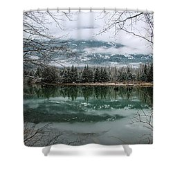 Snowy Reflection Shower Curtain