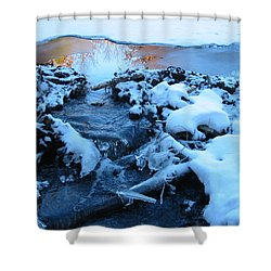 Snowy Reflections Shower Curtain by Angela Murray