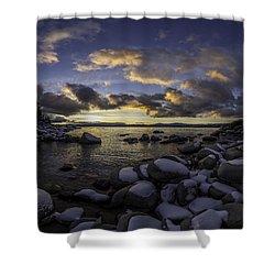 Snowy Sand Harbor Sunset Shower Curtain