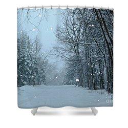 Snowy Street Shower Curtain