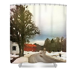 Shower Curtain featuring the digital art Snowy Street With Red House by Shelli Fitzpatrick