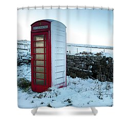 Snowy Telephone Box Shower Curtain by Helen Northcott