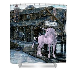 Snowy Unicorn Shower Curtain