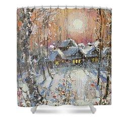 Snowy Village Shower Curtain