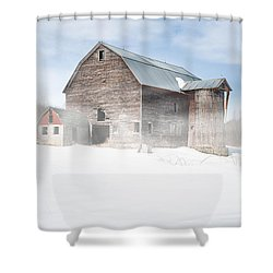 Shower Curtain featuring the photograph Snowy Winter Barn by Gary Heller