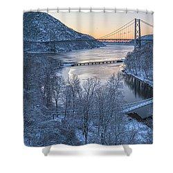 Snowy Winter Dawn At Three Bridges Shower Curtain