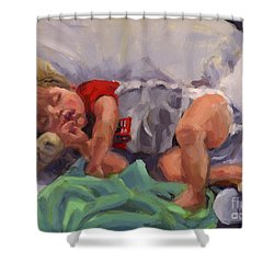 Shower Curtain featuring the painting Snug As A Bug by Nancy Parsons